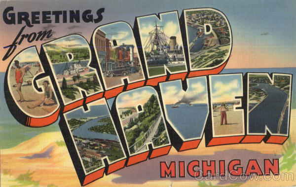 Greetings From Grand Haven Michigan Large Letter