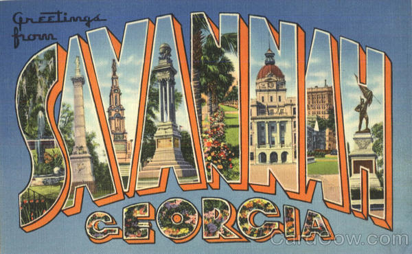 Greetings From Savannah Georgia Large Letter