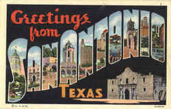 Greetings From San Antonio Postcard