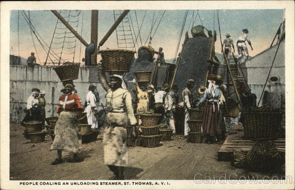 People Coaling an Unloading Steamer St. Thomas Virgin Islands