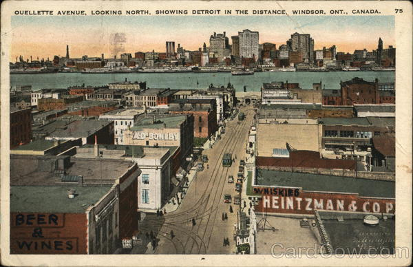 Ouellette Avenue, Looking North, Showing Detroit in the Distance Windsor Canada