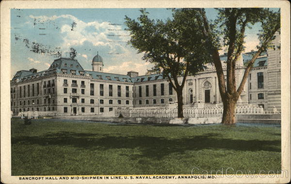Bancroft Hall and Mid-Shipmen in Line, US Naval Academy Annapolis Maryland