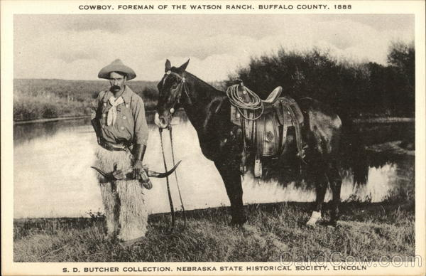 Cowboy, Foreman of the Watson Ranch Nebraska Cowboy Western