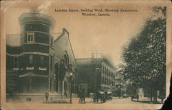 London Street, Looking West, Showing Armouries, Windsor, Canada Postcard