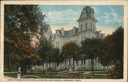View in Washington Park Showing High School Postcard