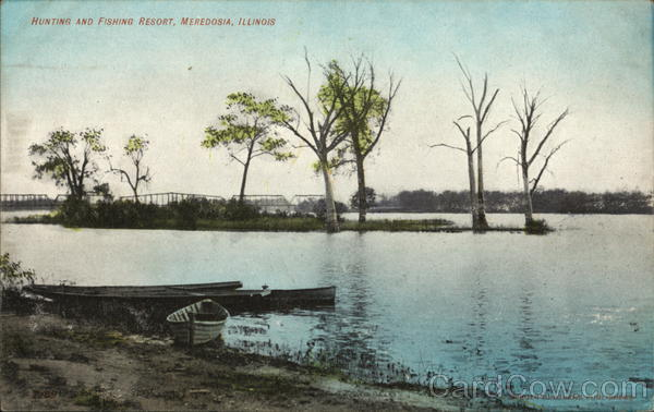 hunting and fishing resort meredosia il postcard