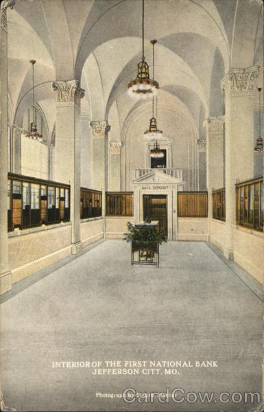 Interior of the First National Bank Jefferson City Missouri