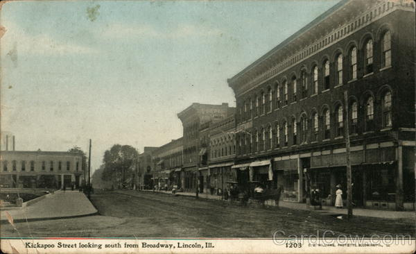 Kickapoo Street Looking South Away From Broadway Lincoln Illinois