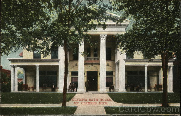 Olympia bath house mount clemens mi postcard for Bath house michigan