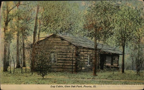 Log cabin glen oak park peoria il postcard for Oak glen park