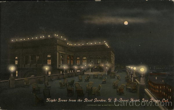 U. S. Grant Hotel - Night Scene from Roof Garden San Diego California