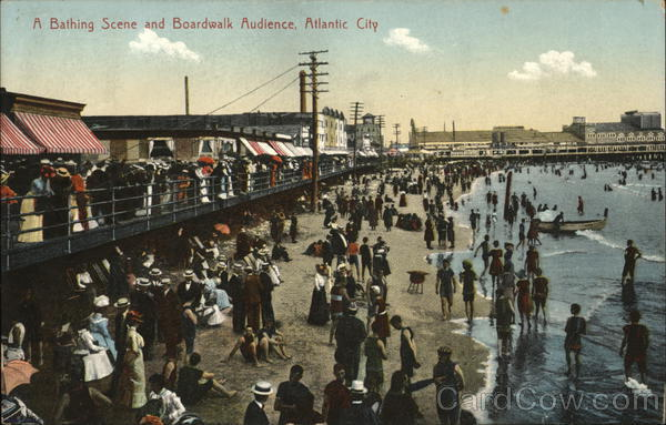 A Bathing Scene and Boardwalk Audience Atlantic City New Jersey