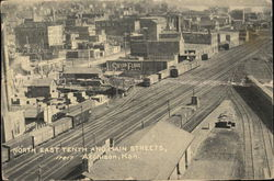 North East Tenth and Main Streets Postcard