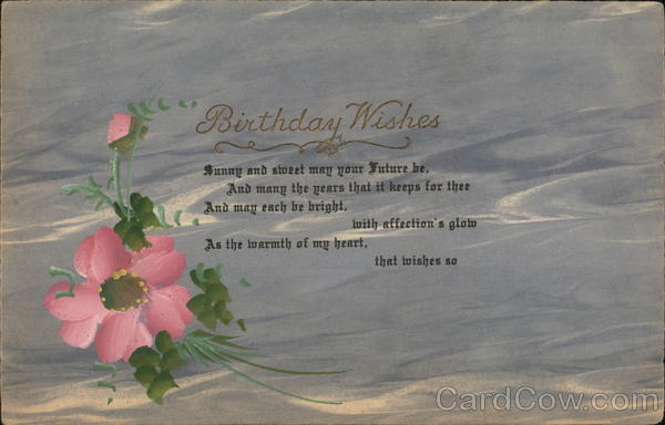 Birthday Wishes - pink flor on grey background Hand Drawn