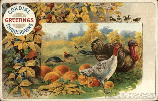 Cordial Thanksgiving Greetings R. Veenfliet Turkeys
