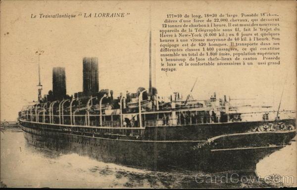 La Transatlantique La Lorraine Steamers