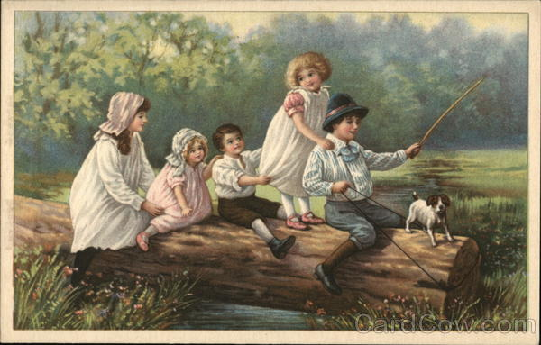 5 children and a dog sitting on a log.