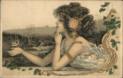Art Nouveau Girl with Bird