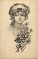 Portrait of Girl With Violets
