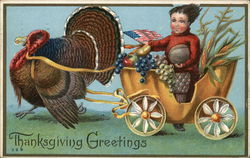 Thanksgiving Greetings - Turkey Pulling Cart with Child