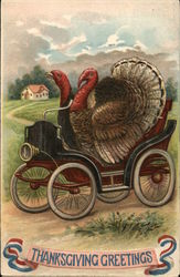Thanksgiving Greetings - Turkeys Driving Car