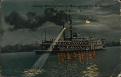 Steamer Morning Star by Moonlight on the Mississippi