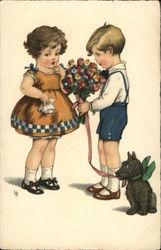 Boy Giving Girl Flowers