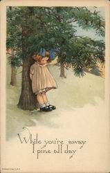 Sad Little Girl Leaning Against a Pine Tree