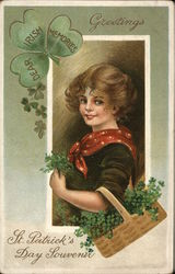 Greetings: Dear Irish Memories - Woman Holding a Basket of Clover