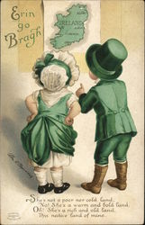 Erin Go Bragh - Children in Green Facing Wall Map of Ireland