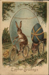 Easter Greetings - Bunny Riding Bike Pulling Cart with Easter Egg