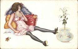 Woman in Underthings Leaning Against Pillows