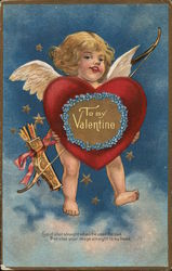 To My Valentine-Cupid Holding a Heart