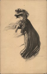 Drawing of Woman in Wind