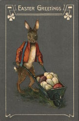 Easter Greetings - Dark Bunny with Wheel-Barrow of Eggs