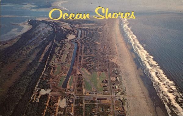 Aerial View Ocean Shores Wa Postcard