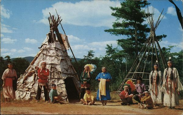 Indian Chief and Family in Residence at Indian Village Lake George New York