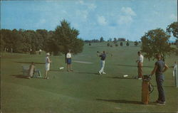 Golfers Teeing Off Postcard