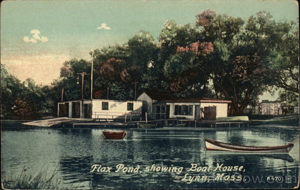 Flax Pond, Showing Boat House Lynn Massachusetts