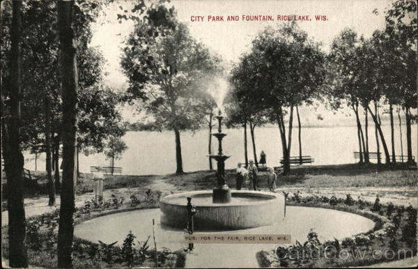 City Park and Fountain Rice Lake Wisconsin