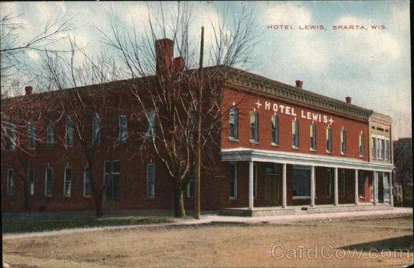 Hotel Lewis Sparta Wi Postcard