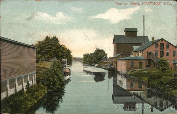 View On Canal Portage, WI Postcard