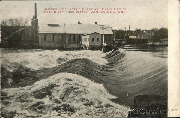 Janesville Electric Plant and Upper Dam on Rock River Wisconsin