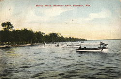 North Beach, Shawano Lake Postcard