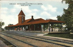 Chicago, Milwaukee Electric R. R. Depot Postcard