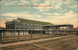 C. B. & Q. Passenger Station and Train Sheds