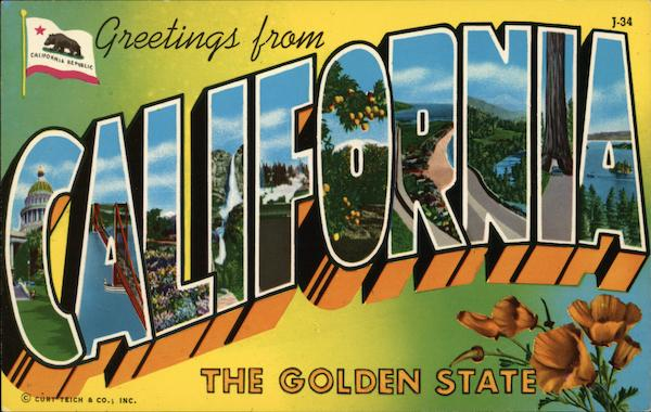 Greetings from california the golden state postcard sold m4hsunfo Gallery