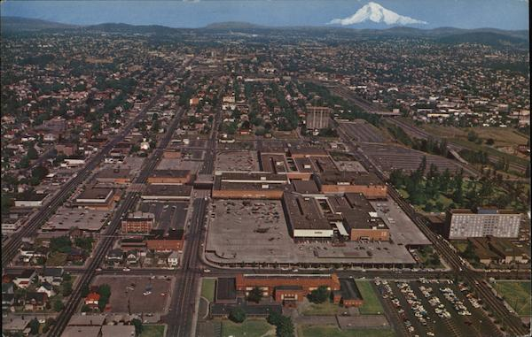 Aerial View of City and Mt. Hood Portland Oregon