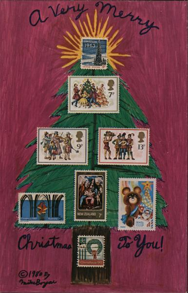 A Very Merry Christmas to You Mike Boyar Stamp Postcards
