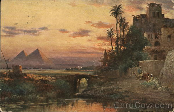 Painting of Pyramids at Giza Cairo Egypt Africa
